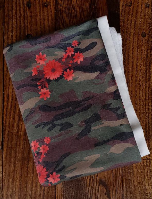 Small Red Floral on Camo Poly Rayon French Terry