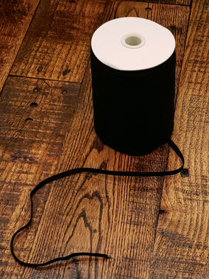 "FULL ROLL - 1/4"" Black Elastic - 120 YARDS GIVE OR TAKE"