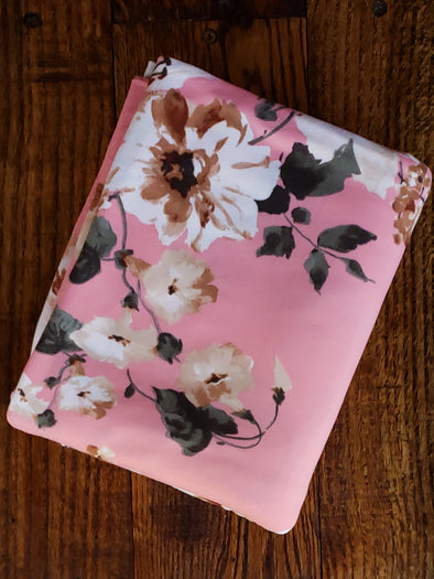 Lorena Pink Floral on Blush Double Brushed Poly Spandex