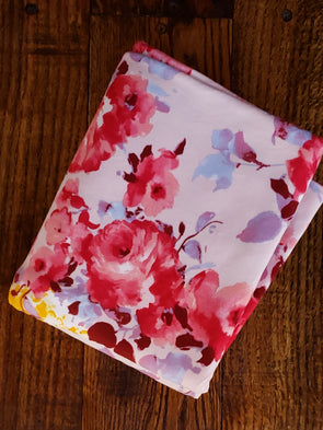 Ashley Floral on Blush Double Brushed Poly Spandex