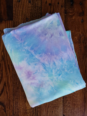Aqua & Lilac Tie Dye Double Brushed Poly Spandex