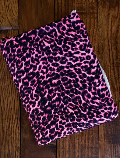 Neon Pink Cheetah Animal Print on Double Brushed Poly Spandex