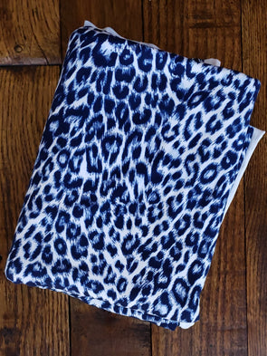 Neon Blue Cheetah Animal Print on Double Brushed Poly Spandex