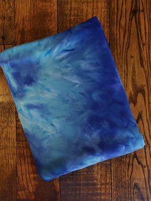 Navy/ Aqua/ Ivory Tie Dye Double Brushed Poly Spandex