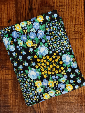 Blue Rose Field on Black Double Brushed Poly Spandex(LAST YARDS- NOT CONTINUOUS)