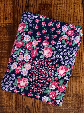 Pink Rose Field on Navy Double Brushed Poly Spandex