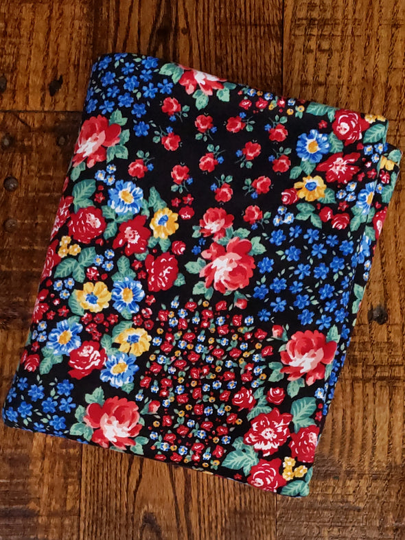 Red Rose Field on Black Double Brushed Poly Spandex