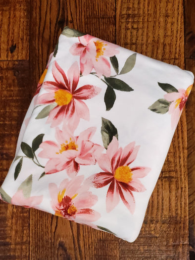 Blush Crocus on Ivory Double Brushed Poly Spandex