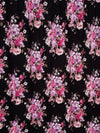 Marie Floral Bouquet on Black Double Brushed Poly Spandex