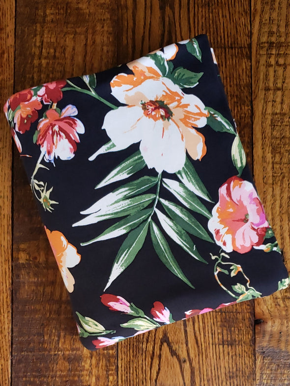 Autumn Floral on Black Double Brushed Poly Spandex