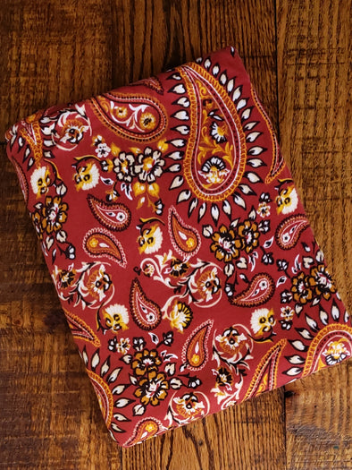 Paisley Floral on Dark Rust Double Brushed Poly Spandex  (LAST YARDS- NOT CONTINUOUS)