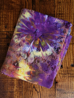 Yellow & Purple Tie Dye Double Brushed Poly Spandex