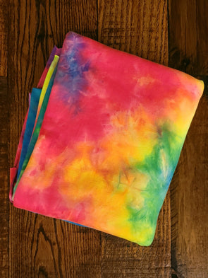 Neon Rainbow Tie Dye Double Brushed Poly Spandex