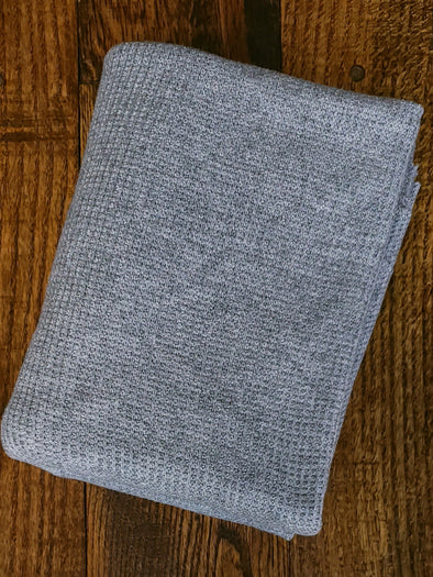 Heather Grey Sweater Knit Poly Rayon Nylon(LAST YARDS- NOT CONTINUOUS)