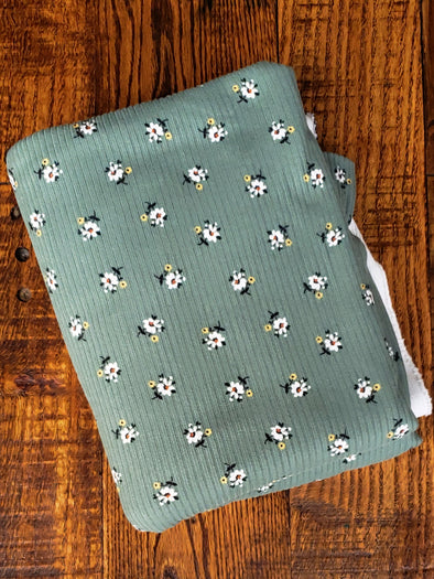 Mini White Flowers on Dark Sage Rib Poly Spandex