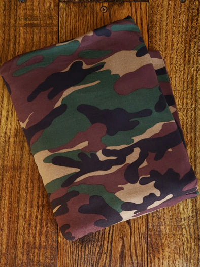 Olive/ Brown Camouflage Double Brushed Poly Spandex(LAST YARDS- NOT CONTINUOUS)