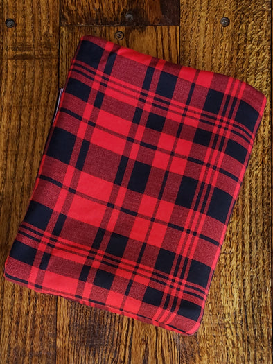 Black & Red Plaid Double Brushed Poly Spandex (LAST YARDS - MAY NOT BE CONTINUOUS)