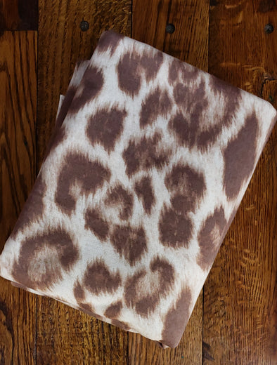 Light Brown Animal Print on Cream FRENCH TERRY Poly Rayon Spandex