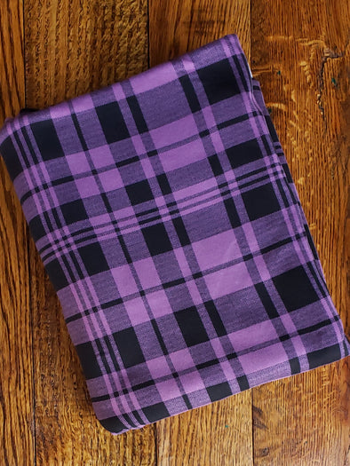 Black & Lavender Plaid Double Brushed Poly Spandex