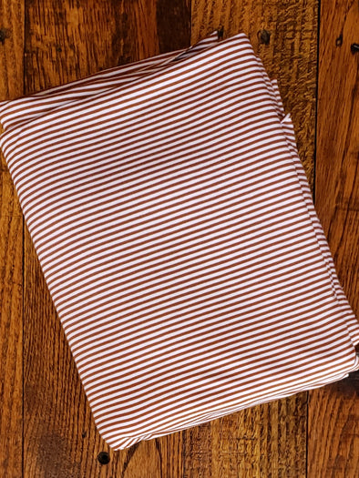 Rust/White Bamboo ORGANIC Cotton Jersey Stripes (LAST YARDS - MAY NOT BE CONTINUOUS)