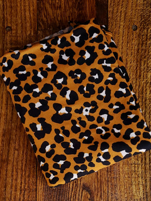 NEW Black/Ivory Leopard Print on Caramel Double Brushed Poly Spandex (09/01/20 DYE LOT- SEE NOTE)