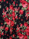 Rose Red Edith Floral on Black Double Brushed Poly Spandex