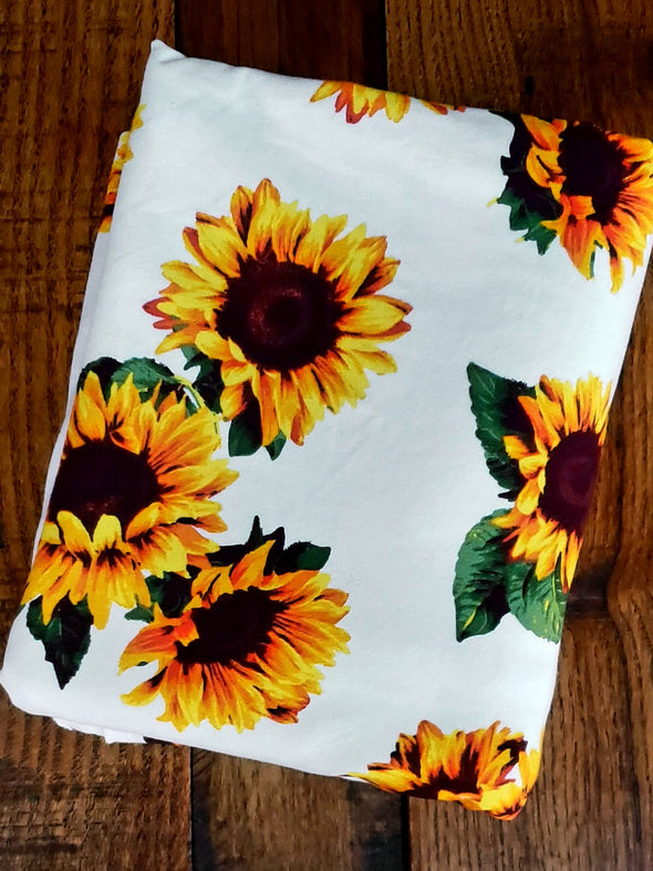 Sunflower on Ivory Cotton Spandex 12oz.