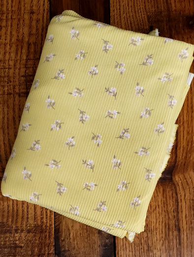Taupe Yummy Small Flowers on Light Yellow Rib 2*1  Poly  Spandex