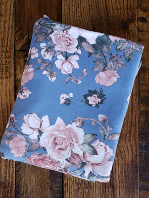 Blush Floral on Blue  Double Brushed Poly Spandex