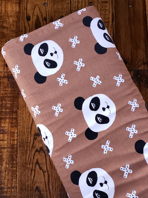 Pandas on Light Tobacco Cotton Spandex