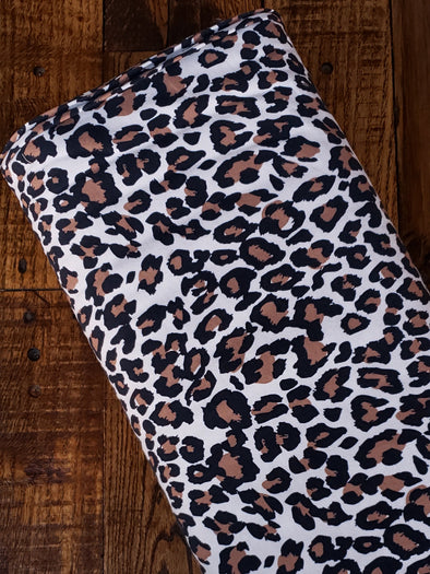 Leopard Print on Ivory Cotton Spandex