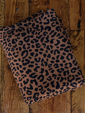 Black Leopard Print on Dark Camel Rib 4*2 Poly Spandex