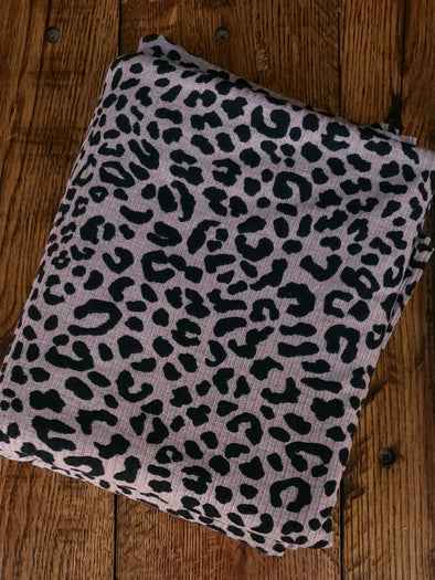 Black Leopard Print on Dark Taupe Rib 4*2 Poly Spandex
