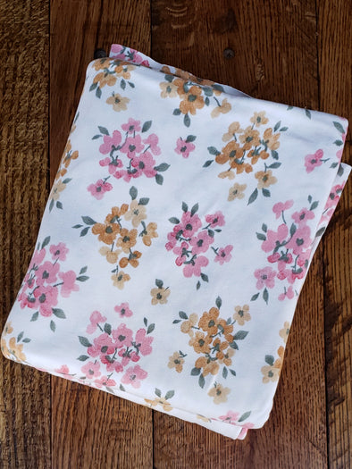 Pink & Mustard Floral on Ivory Double Brushed Poly Spandex