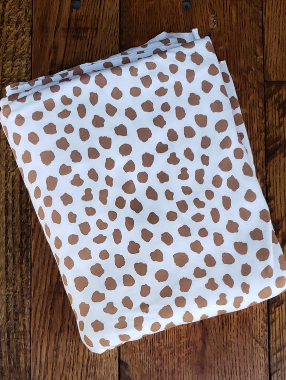 Mocha Disperse Spots on Ivory Double Brushed Poly Spandex