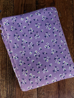 Purple/Cream Small Flowers on Lavender Yummy Rib 4*2 Poly Spandex (LAST YARDS - MAY NOT BE CONTINUOUS)