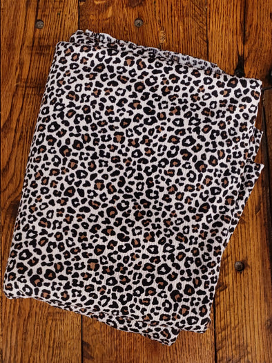 Black/Camel on Sand Animal Print on Rib 2*1 Poly Spandex