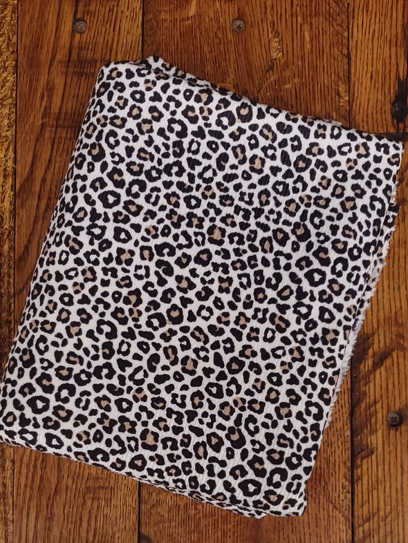 Black/Taupe on Cream Animal Print on Rib 2*1 Poly Spandex