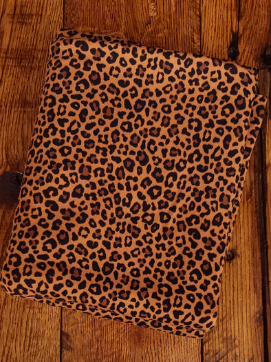 Black/Brown on Dark Camel Animal Print on Double Brushed Poly Spandex