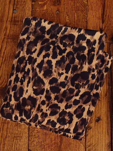 Leopard on Dark Camel Animal Print on Double Brushed Poly Spandex