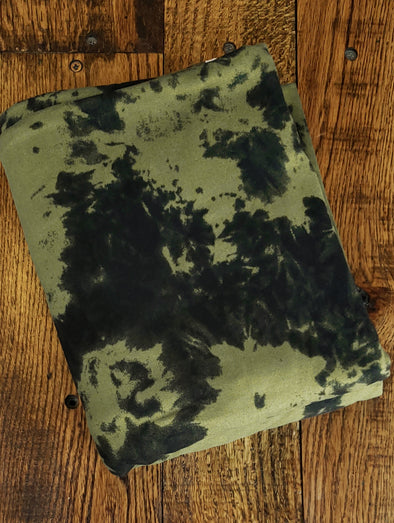 Olive Tie Dye Double Brushed Poly Spandex(Last Yards-Not Continuous)