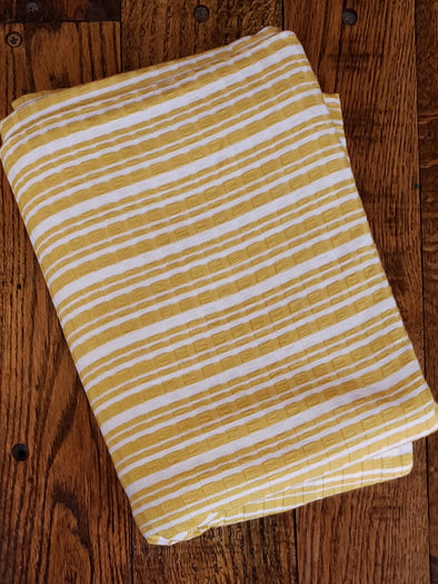 Mustard/Ivory Stripes Rib 11*8 Rayon Poly Spandex(LAST YARDS - NOT CONTINUOUS)
