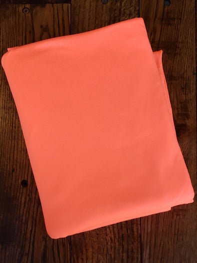 NEW Neon Coral Double Brushed Poly Spandex ( LAST YARDS - MAY NOT BE CONTINUOUS)