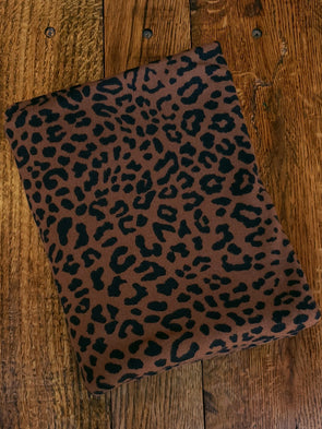 Black Leopard Print on Brown Animal Print Hacci Sweater Knit