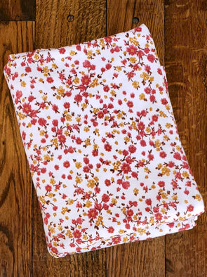 Marsala & Mustard Floral on Ivory Double Brushed Poly Spandex
