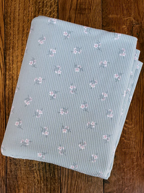 Ivory Small Flowers on Mint Rib 2*1  Poly  Spandex(LAST YARDS - MAY NOT BE CONTINUOUS)