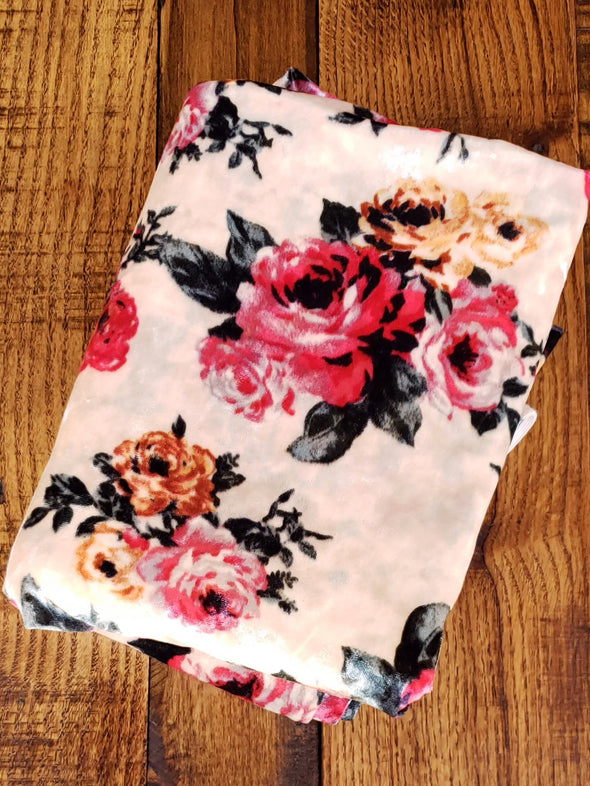 Hot Pink Roses on Taupe Crushed Stretch Velvet