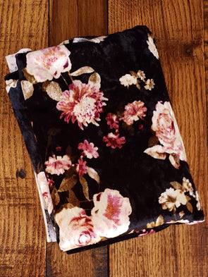 Flower Garden on Black Crushed Stretch Velvet