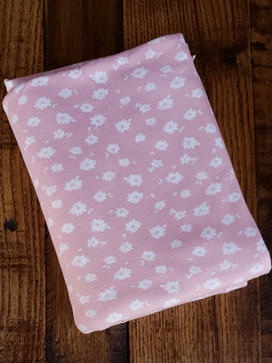 Ivory Layla Floral on Peach Double Brushed Poly Spandex