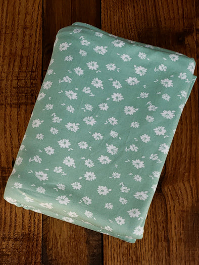 Ivory Layla Floral on Sage Double Brushed Poly Spandex